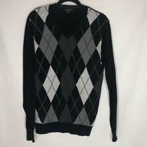 Structure black with grey argyle sweater